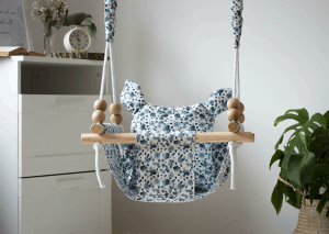 Outdoor Baby Swing with a wooden frame