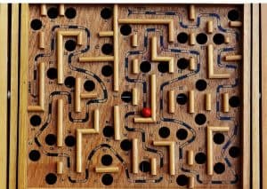 Wooden marble maze toy